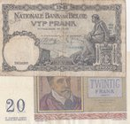 Belgium, 20 Francs and 5 Francs, 1956/ 1936, VF/ FINE, p132b/ p108a, (Total 2 Banknotes)