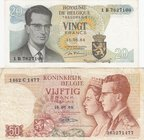 Belgium, 20 Francs and 50 Francs, 1964/ 1966, UNC/VF, p138/ p139, (Total 2 Banknotes)