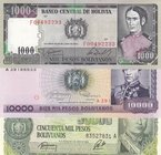 Bolivia, 1000 Bolivianos, 10.000 Boivianos and 50.000 Boivianos, 1984, UNC, p167/p169/p170, (Total 3 banknotes)