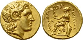 KINGS OF THRACE (Macedonian). Lysimachos (305-281 BC). GOLD Stater. Alexandria Troas.