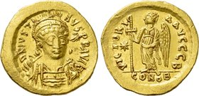 JUSTIN I (518-527). GOLD Solidus. Constantinople.