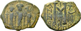 HERACLIUS with MARTINA and HERACLIUS CONSTANTINE (610-641). Follis. Uncertain mint in Cyprus. Dated RY 18 (627/8).