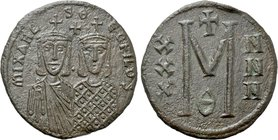 MICHAEL II THE AMORIAN with THEOPHILUS (820-829). Follis. Constantinople.