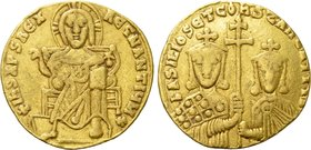 BASIL I THE MACEDONIAN with CONSTANTINE (867-886). GOLD Solidus. Constantinople.