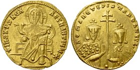 CONSTANTINE VII PORPHYROGENITUS with ROMANUS I and CHRISTOPHER (913-959). GOLD Solidus. Constantinople.