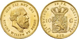 NETHERLANDS. Willem III (1849-1890). GOLD 10 Gulden (1875). Utrecht.
