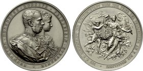 AUSTRIA. Rudolf with Stéphanie (Crown Prince, 1858-1889). Silvered Bronze Medal (1881). Commemorating their Marriage. By J. Tautenhayn.
