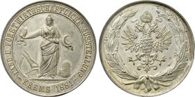 AUSTRIA. Silvered Bronze Medal (1881). Commemorating the Agriculture and Forestry Exhibition at Krems. By Christlbauer.