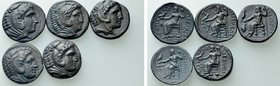 5 Tetradrachms of Alexander the Great.