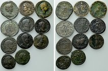 11 Roman Coins; Most WIth Collectors Tickets.