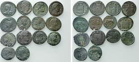 14 Late Roman Coins; All With Collectors Ticket.