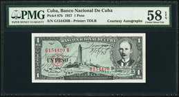 "Cuba Banco Nacional de Cuba 1 Peso 1957 Pick 87b ""Courtesy Autographs"" PMG Choice About Unc 58 EPQ.   HID09801242017"