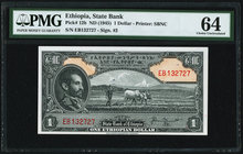 Ethiopia State Bank of Ethiopia 1 Dollar ND (1945) Pick 12b PMG Choice Uncirculated 64.   HID09801242017