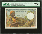 French Equatorial Africa Institut d'Emission de l'Afrique Equatoriale Francaise et du Cameroun 1000 Francs ND (1957) Pick 34 PMG Very Fine 25 Net. Rep...