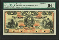 Honduras Banco Centro-Americano 5 Pesos 30.11.1888 Pick S133fp Front Proof PMG Choice Uncirculated 64 EPQ. Four POCs.  HID09801242017