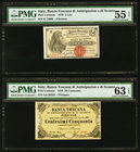Italy Banca Toscana 2 Lire; 50 Centesimi 24.5.1870 Pick UNL Two Examples PMG About Uncirculated 55 Net; Choice Uncirculated 63 EPQ.   HID09801242017