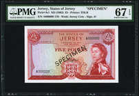 Jersey States of Jersey 5 Pounds ND (1963) Pick 9s1 Specimen PMG Superb Gem Unc 67 EPQ. Printer's annotation.  HID09801242017