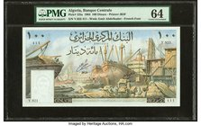 Algeria Banque Centrale d'Algerie 100 Dinars 1964 Pick 125a PMG Choice Uncirculated 64. Staple holes.  HID09801242017