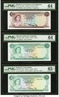 Bahamas Bahamas Government 1/2; 1 (2) Dollar 1965; 1968; 1974 Pick 17a; 27a; 35b PMG Choice Uncirculated 64 (2); Gem Uncirculated 65 EPQ.   HID0980124...
