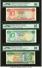 Lot Of Ten PMG Graded Examples From Barbados, Bahamas & Jamaica. Barbados Central Bank 5; 2 Dollars ND (1975); ND (1995) Pick 32; 46 Two Examples PMG ...
