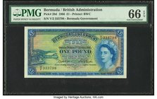 Bermuda Bermuda Government 1 Pound 1.10.1966 Pick 20d PMG Gem Uncirculated 66 EPQ.   HID09801242017