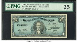 "Error ""Missing Seal"" Cuba Banco Nacional de Cuba 1 Peso 1960 Pick 77b PMG Very Fine 25. Missing the red bank seal above the left serial number.  HID09..."