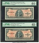 Low Serial Number Pair Cuba Banco Nacional de Cuba 5 Pesos 1949; 1950 Pick 78a; 78b Two Examples PMG Choice Uncirculated 64 EPQ; Gem Uncirculated 65 E...