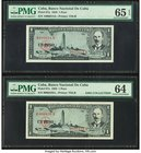 Low Serial Number Pair Cuba Banco Nacional de Cuba 1 Peso 1956 Pick 87a Two Examples PMG Gem Uncirculated 65 EPQ; Choice Uncirculated 64.   HID0980124...