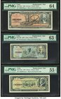 Cuba Banco Nacional de Cuba 10; 1; 5 Pesos 1960; 1959; 1958 Pick 88c*; 90*; 91a* Three Replacement Examples PMG Choice Uncirculated 64; Choice Uncircu...