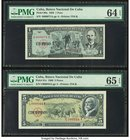 Low Serial Number Pair Cuba Banco Nacional de Cuba 1: 5 Pesos 1959; 1960 Pick 90a; 91c Two Examples PMG Choice Uncirculated 64 EPQ; Gem Uncirculated 6...
