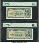 Low Consecutive Serial Number Pair Cuba Banco Nacional de Cuba 5 Pesos 1958 Pick 91a Two Examples PMG Gem Uncirculated 66 EPQ (2).   HID09801242017