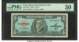 "Error ""Background Color"" Cuba Banco Nacional de Cuba 5 Pesos 1960 Pick 92a PMG Very Fine 30. Blue background color whereas the standard background is ..."