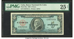 "Error ""Background Color"" Cuba Banco Nacional de Cuba 5 Pesos 1960 Pick 92a PMG Very Fine 25 Net. Blue background color whereas the standard background..."