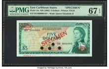 East Caribbean States Currency Authority 5 Dollars ND (1965) Pick 14s Specimen PMG Superb Gem Unc 67 EPQ. Four POCs.  HID09801242017