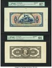 El Salvador Banco Occidental 10 Colones ND (1925) Pick S196fp; S196bp Front And Back Proofs PMG Superb Gem Unc 67 EPQ; Choice Uncirculated 64.   HID09...