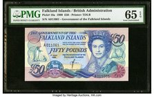 Falkland Islands Government of the Falkland Islands 50 Pounds 1.7.1990 Pick 16a PMG Gem Uncirculated 65 EPQ.   HID09801242017