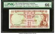 Fiji Central Monetary Authority 1 Dollar ND (1974) Pick 71b PMG Gem Uncirculated 66 EPQ.   HID09801242017