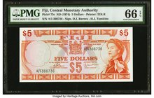 Fiji Central Monetary Authority 5 Dollars ND (1974) Pick 73c PMG Gem Uncirculated 66 EPQ.   HID09801242017