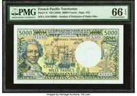 French Pacific Territories Institut d'Emission d'Outre-Mer 5000 Francs ND (1996) Pick 3i PMG Gem Uncirculated 66 EPQ.   HID09801242017