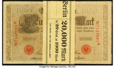 Germany Reichsbanknote 1000 Mark 21.4.1910 Pick 45b, Twenty Consecutive Examples Choice About Uncirculated or Better. Lot includes original bank wrapp...