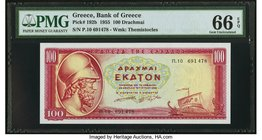 Greece Bank of Greece 100 Drachmai 1955 Pick 192b PMG Gem Uncirculated 66 EPQ.   HID09801242017