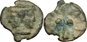 Greek Italy. Etruria, Volaterrae. Club series. AE Cast Sextans, 3rd century BC. D/ Janiform head, beardless, wearing pointed cap. R/ Club; in field, t...