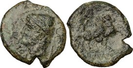 Greek Italy. Samnium, Southern Latium and Northern Campania, Aesernia. AE 23 mm, c. 263-240 BC. D/ Head of Vulcan right, wearing laureate pileus; behi...
