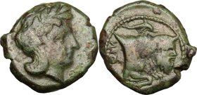 Greek Italy. Central and Southern Campania, Neapolis. AE 16 mm. 325-320 BC. D/ Laureate head of Apollo right. R/ NEO [ ]. Forepart of man-faced bull r...