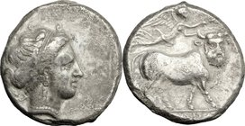 Greek Italy. Central and Southern Campania, Neapolis. AR Didrachm, c. 320-300 BC. D/ Diademed head of nymph right, wearing triple-pendant earring and ...