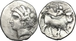 Greek Italy. Central and Southern Campania, Neapolis. AR Didrachm, c. 275-250 BC. D/ Diademed head of nymph left; symbol to right. R/ Man-headed bull ...