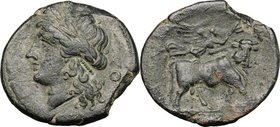 Greek Italy. Central and Southern Campania, Neapolis. AE 21 mm. 275-250 BC. D/ [NEOΠOΛITΩN]. Laureate head of Apollo left; to right, O. R/ Man-headed ...