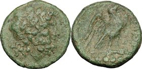 Greek Italy. Eastern Italy, Larinum. AE Quadrunx, c- 210-175 BC. D/ Laureate head of Jupiter right. R/ LADINOD. Eagle right on thunderbolt; in exergue...