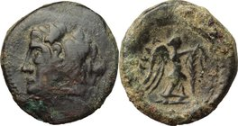 Greek Italy. Northern Apulia, Ausculum. AE 21 mm. c. 240 BC. D/ Head of Herakles left; club on shoulder. R/ Nike standing right, attaching a tania wit...