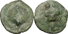 Greek Italy. Northern Apulia, Luceria. AE Cast Biunx, c. 217-212 BC. D/ Scallop shell. R/ Astragalos; above, two pellets; below, L. HN Italy 677 d; Ve...
